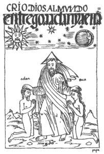 Figure 1 : Crió dios al mvndo, entregó a adán y a eua / adán / eua / mundo / papa (Guaman Poma 1936, 12).
