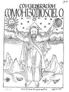 Figure 3 : Conzederacion/ cómo hizo dios cielo, mundo / mundo para dar gracias a dios (Guaman Poma 1936, 910).