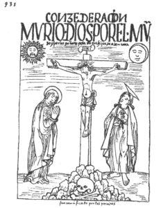 Figure 4 : Consederacion / mvrió dios por el mvndo y por los pobres pecadores, hijos de adán, eua. / INRI / Fue crucificado por los pecados (Guaman Poma 1936, 935).