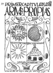 Figure 6 : PRIMER CAPÍTVLO D [E] LOS INGAS: ARMAS PROPIAS / Ynti Raymi [fiesta del sol] / Coya Raymi [fiesta de la reina] / Choqui Ylla Uillca [el noble del rayo o de oro] / ýdolo de Uana Cauri / Pacari Tanbo / Tanbo Toco [los agujeros del tampu] / ýdolo de los Yngas y arma del Cuzco / armas rreales del rreyno de las Yndias de los rreys Yngas / / Inti Raymi / Quya Raymi / Chuqi Illa Willka (Guaman Poma 1936, 79).